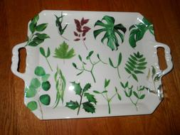 LARGE RECTANGULAR MELAMINE TRAY WITH HANDLES- LEAVES