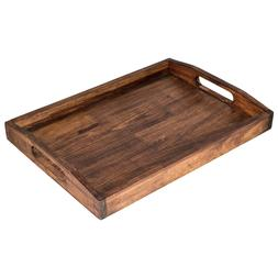 Large Serving Tray With Handles Wooden Fruit Breakfast Coffe