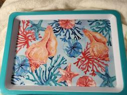 MELAMINE LUNCH TRAY TURQUOISE WITH SEASHELLS