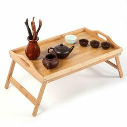 NEW FOLDING BAMBOO WOODEN SERVING BED LAP TRAY TABLE TRAY W