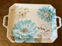New Melamine Blue Floral Small Serving Tray w/Handles White