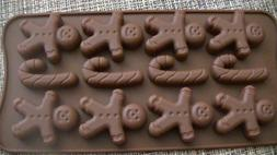 NIP Gingerbread Man Candy Cane Silicone Mold Christmas Ice T