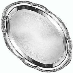 """American Metalcraft  15"""" x 10"""" Oval Chrome Serving Tray - Af"""