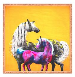 Deny Designs Painted Ponies Horse Tray Med Sz 12x12 Bamboo E