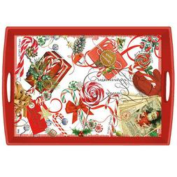 Michel Design Works Peppermint Decoupage Large Wooden Tray 2