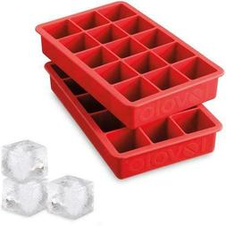 Tovolo Perfect Cube Silicone Ice Trays Set of 2, Candy Red