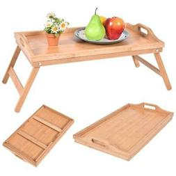 portable bamboo breakfast bed tray serving laptop