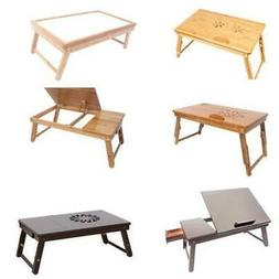 Portable Breakfast Bed Tray Lap Desk Serving Table Foldable