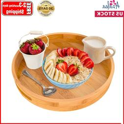 Round Serving Tray with Handles - Wood Bamboo Decorative Tra