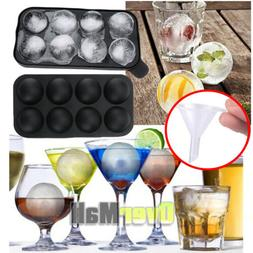 Round Silicon Ice Cube Ball Maker Tray 8 Large Sphere Molds