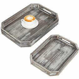 MyGift Rustic Torched Wood Nesting Serving Trays with Cutout