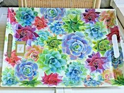 Serving tray melamine with handles succulent design Overall