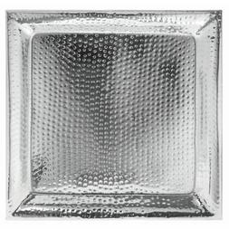HUBERT Metal Serving Tray With Hammered Finish Square Stainl