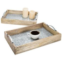 MyGift Set of 2 Galvanized Metal and Solid Brown Wood Nestin