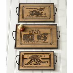 Set of Three Wood and Metal Serving Trays Rustic Farmhouse S