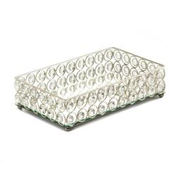 Vanity Display Tray Silver with Glass Crystal Gems Rectangul