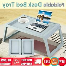 Breakfast Bed Tray Lap Desk Serving Table Foldable Legs Wood