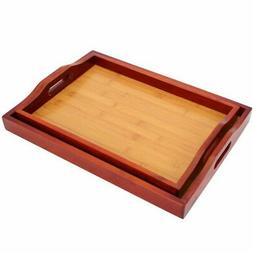 2 Pack Serving Tray - Food Tray Set - Wood Serving Tray with